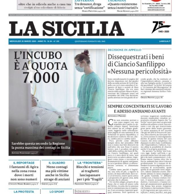 La Sicilia: il quotidiano torna all'editore